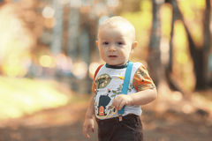 Baby boy in autumn park Royalty Free Stock Photo