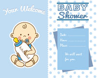 Baby boy with baby bottle stock illustration