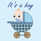 Baby boy in baby carriage Stock Photography