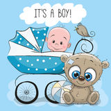 Baby boy with baby carriage and Teddy Bear Stock Photos