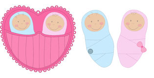 Baby boy and baby girl Royalty Free Stock Images