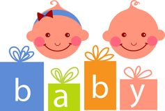 Baby boy and baby girl Royalty Free Stock Photo