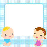 Baby boy and baby girl Royalty Free Stock Image