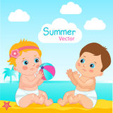 Baby Boy And Baby Girl On The Beach Vector Illustration. Little Baby Play The Ball On The Beach. Stock Images