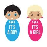Baby boy and baby girl Stock Image