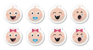 Baby boy, baby girl face - crying, with soother, s Stock Photo