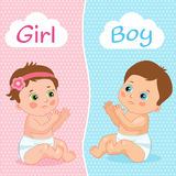 Baby Boy And Baby Girl Vector Illustration. Two Cute Cartoon Babies. Baby Shower Invitation Card. Stock Photo