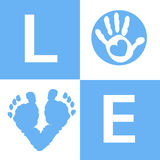 Baby boy baby hand and feet prints arrival card Stock Photos