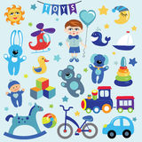 Baby boy with Baby toy  icons Royalty Free Stock Photos