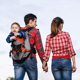 Baby boy in backpack Royalty Free Stock Photo