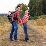 Baby boy in backpack Royalty Free Stock Image