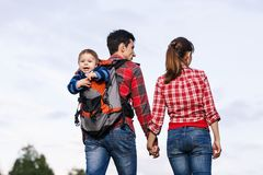 Baby boy in backpack Royalty Free Stock Photography