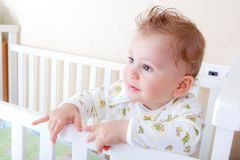 Baby boy in the bad Royalty Free Stock Image