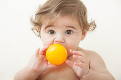 Baby boy with ball Royalty Free Stock Photography