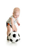 Baby boy with ball  over white background. Adorable baby with ball over white background Stock Image