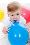 Baby boy and ballons Royalty Free Stock Photos