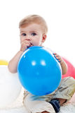 Baby boy with balloon Stock Photography