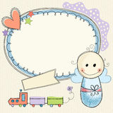Baby Boy Banner. Doodle frame banner with baby boy. Seamless background Stock Photo
