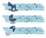 Baby boy banners. With toys Royalty Free Stock Photography