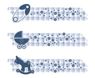 Baby boy banners with textures. Baby boy banners with toys Royalty Free Stock Photos