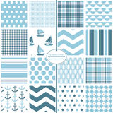 Nautical seamless patterns. Baby blue scrapbook paper collection. Royalty Free Stock Photos