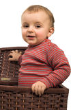 Baby boy in basket Royalty Free Stock Photo