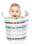 Baby boy in basket Royalty Free Stock Image