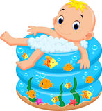 Baby boy bath in a bathtub with lot of soap Royalty Free Stock Photography