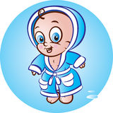 Baby boy in bathrobe Royalty Free Stock Image