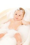 Baby boy in bathtub Stock Photo