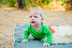 Baby boy bawling Royalty Free Stock Images