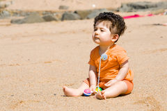 Baby boy on beach Royalty Free Stock Photos