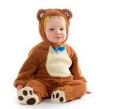 Baby boy in bear costume Stock Image