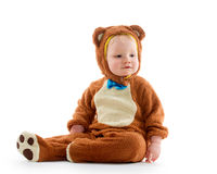 Baby boy in bear costume Stock Photography