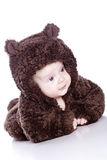 Baby boy in a bear suit Royalty Free Stock Image