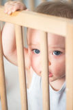Baby boy behind the crib`s bars. Cute blond baby boy with blue eyes staying behind the bars in his crib- the baby has 9 months old and looks at the camera Royalty Free Stock Photo