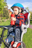 Baby boy is  in the bicycle chair (seat). Royalty Free Stock Image