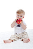 Baby boy with big apple Royalty Free Stock Photo