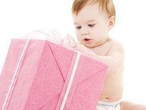 Baby boy with big gift box Royalty Free Stock Photography