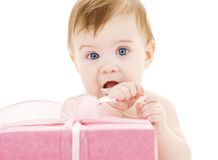 Baby boy with big gift box Stock Images