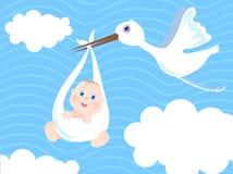 Baby boy birth Announcement. Vector illustration stock illustration