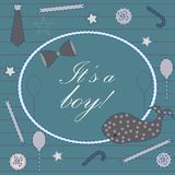 Baby Boy Birth announcement. Baby shower invitation card. Royalty Free Stock Photos