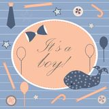 Baby Boy Birth announcement. Baby shower invitation card. Cute w Royalty Free Stock Photography