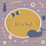 Baby Boy Birth announcement. Baby shower invitation card. Cute w Royalty Free Stock Image