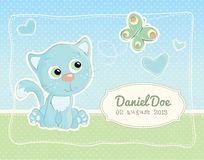 Baby boy birth announcement standard postcard. Birth announcement for a baby boy with a beautiful illustration of a kitten and a butterfy royalty free illustration