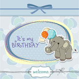 Baby boy birthday card with elephant Stock Photo