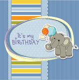 Baby boy birthday card with elephant. And balloons Royalty Free Stock Photo