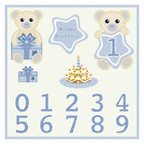Baby boy birthday card Gift card Birthday cake and candle vector Cute baby boy bears vector illustration with star and numbers sym Royalty Free Stock Photos