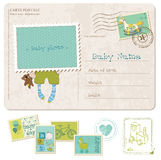 Baby Boy Birthday Postcard with set of stamps Royalty Free Stock Image