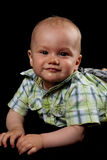 Baby Boy on a Black Background. Little Cute Boy in a Shirt Looking in the Camera Stock Image